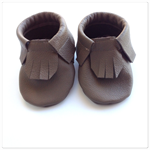 Brown Leather Baby Moccasins