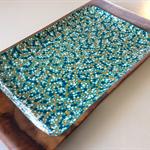 OOAK Handpainted Retro Wooden Bowl  -  Sea Breeze, Turquoise, Yellow, White