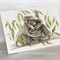 Koala greeting card, Australian wildlife art, cuddle, favourite, icon