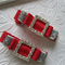 Toddler Girl Duo clip set  ~ Xmas red and silver tuxedo bling