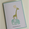 Pale Blue Baby Animal Congratulations Card