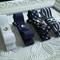 Toddler Girl Quad clip set  ~ navy and white tuxedo clips