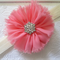 Toddler/girl headband ~ chiffon Flower (coral and cream)