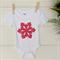 Baby girls red and white Christmas snowflake design white onesie