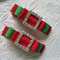 Toddler Girl Duo clip set  ~ Xmas green and red tuxedo bling