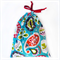 Christmas Gift Bag - Reusable & Eco Friendly. Fabric Xmas Bag. Blue Ornaments.