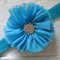 Toddler/girl headband ~ chiffon Flower (turquoise)