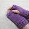 Child fingerless gloves - pink purple mauve merino wool / girl 4-7 years