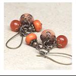 Orange, Canteloupe Gemstone Cluster Earrings