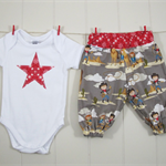 Cowboy/Western harem pants & onesie – Size 000 – Ready to send – Baby boy