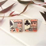CUFF LINKS Original vintage playing card, wood & copper in black white and red..