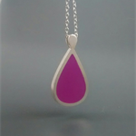 Purple Pear Sterling silver and Resin Pendant