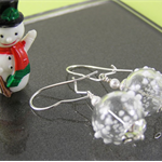 ~ SNOWBALL ~ sterling silver, snow flake polka dot spotted white clear earrings