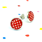Mini stud earrings - Polka dots on red - Resin