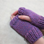 Tween fingerless gloves - pink purple mauve merino wool / girl 8-12 years