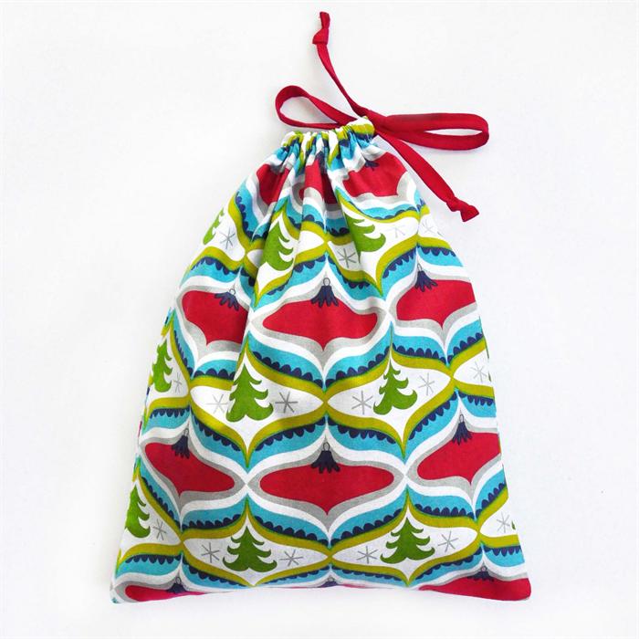 Christmas Gift Bag - Reusable & Eco Friendly. Fabric Xmas Bag. Trees ...