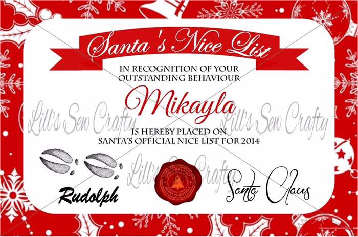 Santas nice list certificate free post christmas gift idea santas nice list certificate free post christmas gift yelopaper Images