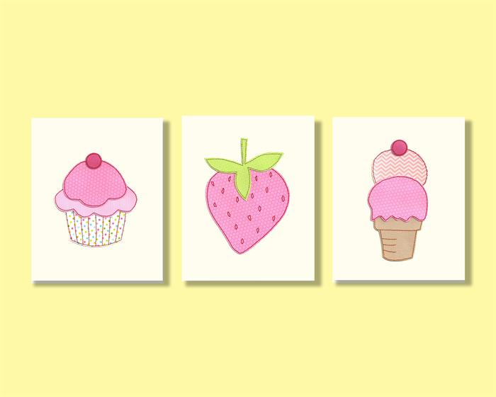 Strawberry ice cream cupcake nursery wall art - 8x10 stitched paper ...