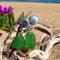 Green Sea Glass Shell Post Earrings