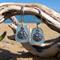 Blue Sea Glass Sand Dollar Earrings