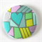 Fabric Button Brooch - Teal Heart hiding in Geos.