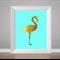 Flamingo print, gold foil poster, flamingo art, nursery art, bedroom print