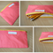 Coral and Yellow Pencil Case // Zippered Pouch // Makeup Case