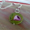 Painted danish style flower - art pendant - silver chain and bead necklace