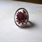 Burgundy rose on white resin adjustable ring