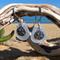 White Sea Glass Sand Dollar Earrings