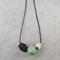 Long Geometric Jade Green & Black Chunky Beaded Leather Necklace
