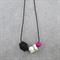 Modern Geometric Marbled Porcelain & Wood Long Necklace Pink, Black, Grey, White