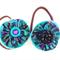 Two Hair Ties, Ponytail Elastic, Fabric Felt, Aqua Purple Black, Vintage Buttons