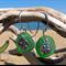 Green Sea Glass Sand Dollar Earrings