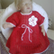 Baby Cotton Dress  -newborn Christmas Red with white trims Hand crocheted