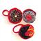 Three Hair Ties, Ponytail Elastic, Fabric Felt, Red Grey Black, Vintage Buttons