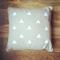 White geometric triangle linen cotton cushion throw pillow w insert house beige