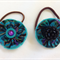 Two Hair Ties, Ponytail Elastic, Fabric Felt, Aqua Purple Black, Vintage Buttons
