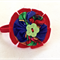 Hair Tie, Ponytail Elastic, Fabric Felt, Red Blue, Green Vintage Flower Button