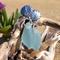 Soft Blue Sea Glass Shell Post Earrings