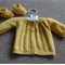 Hand Knit, Wool, Newborn Baby Cardigan & Bootie Shoes, Lacy, Yellow