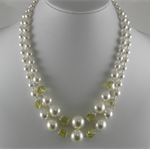 ~ LEMON FROST ~ Swarovski pearl, helix beads two strand sterling silver necklace