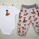 Fox harem pants & onesie – Size 1 – Ready to send – Baby boy 1st birthday