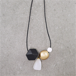 Chunky Quartz & Wood Leather Long Minimalist Geometric Necklace