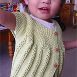 Hand Knit, 2yr old, Cotton, Toddler Cardigan, Lacy, Green