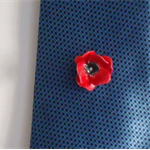 Remembrance Day Poppy -ceramic flower men's tie or jacket lapel pin.