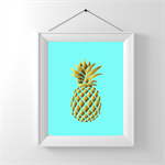Poster Print Pineapple Silhouette Gold Foil Art. Tiffany blue retro print