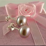 ~ SWEET PETITE ~ sterling silver light pink lilac pearl studs earrings