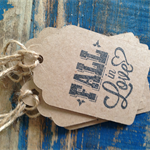 fall in love tags - wedding or engagement gift tags - kraft tag set of 10