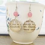Mr Darcy and Elizabeth Earrings Vintage Text Pink Jane Austen Pride Prejudice